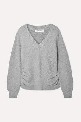 Frame Ruched Wool And Cashmere-blend Sweater - Gray