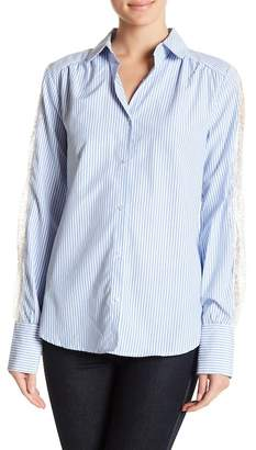 TOV Lace Sleeve Striped Shirt