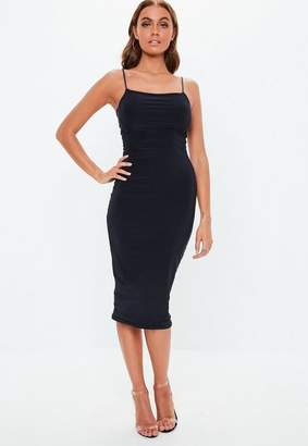 Missguided Navy Slinky Double Layer Midaxi Dress