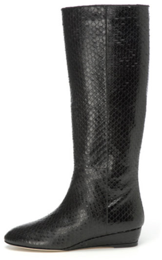 Loeffler Randall Matilde Embossed Snake Boot in Black
