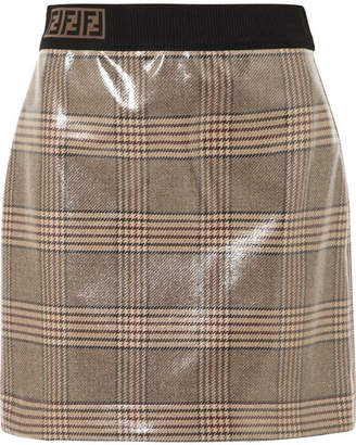 Fendi Prince Of Wales Checked Glossed-wool Mini Skirt - Gray