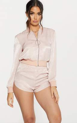 PrettyLittleThing Nude Ring Pull Satin Bomber Jacket