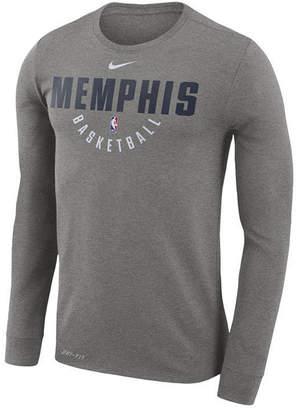 Nike Men's Memphis Grizzlies Dri-fit Cotton Practice Long Sleeve T-Shirt