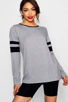 boohoo Long Sleeve Stripe Tee