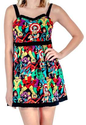 Mighty Fine Marvel Super Heroes All Over Sweetheart Dress (Adult)