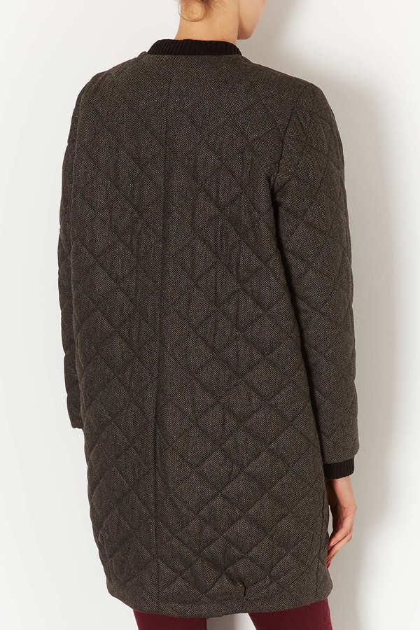 Topshop Tweed Quilted Bomber Coat