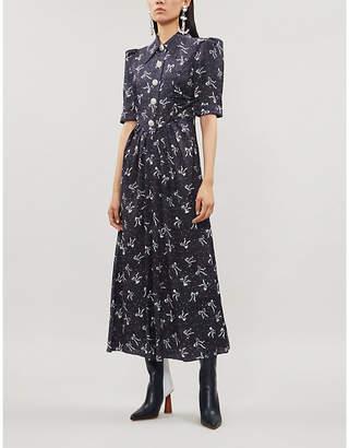 Alessandra Rich Bow-print flared-skirt silk-jacquard maxi dress