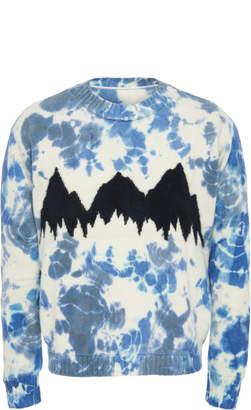 The Elder Statesman Exclusive Intarsia Tie Dye Cashmere Mountain Sweater