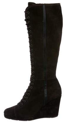 Prada Suede Lace-Up Knee-High Boots