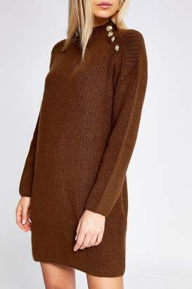 River Island Womens Toffee Caine Button Shoulder Dress - Brown