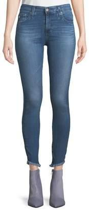 AG Jeans Farrah High-Rise Skinny Jeans w/ Fringe Hem