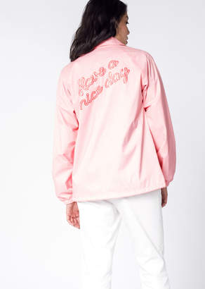 WildFang Pink Nylon Have A Nice Day Windbreaker - Have A Nice Day Coaches Jacket - PINK - LARGE