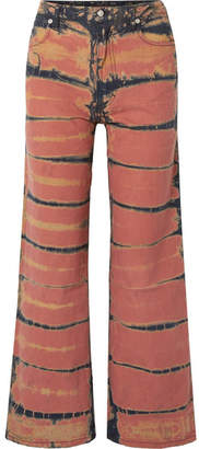 Eckhaus Latta Cropped Tie-dyed High-rise Wide-leg Jeans - Orange