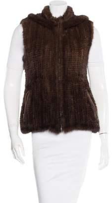 Belle Fare Knit Mink Hooded Vest