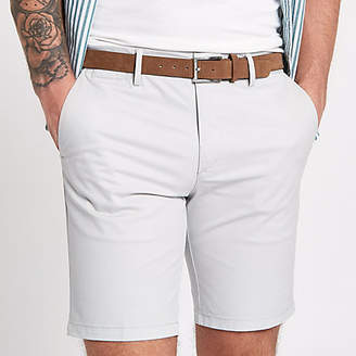 River Island Light grey belted chino shorts