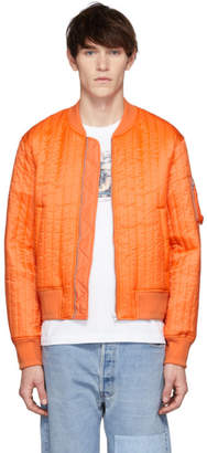 Helmut Lang Orange Quilted Nylon Bomber Jacket