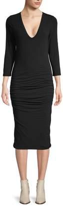 James Perse Cotton-Blend Knee-Length Dress