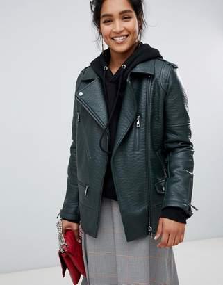 Urban Code Urbancode longline biker jacket in textured faux leather