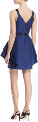 Halston V-Neck Mini Dress w/ Dramatic Flounce Skirt