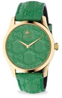 874d07cb320 at Saks Fifth Avenue · Gucci G-Timeless Gold PVD Case 38MM Pastel Green  Leather Strap Watch