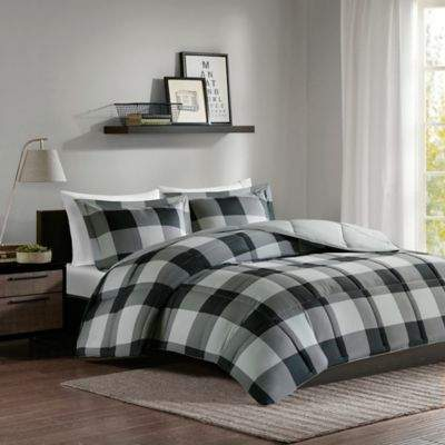 Madison Park Essentials Barrett Twin/Twin XL Comforter Set in Grey/Black