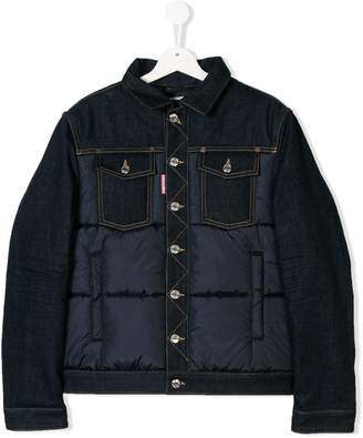 DSQUARED2 TEEN padded panel denim jacket