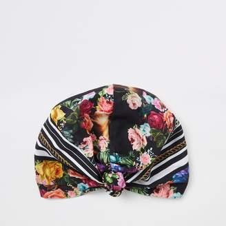 River Island Womens Black floral turban hat