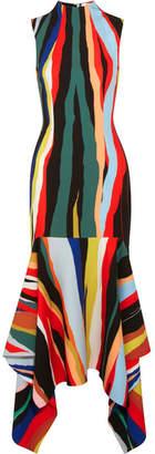 SOLACE London Klara Asymmetric Striped Crepe Midi Dress - Red