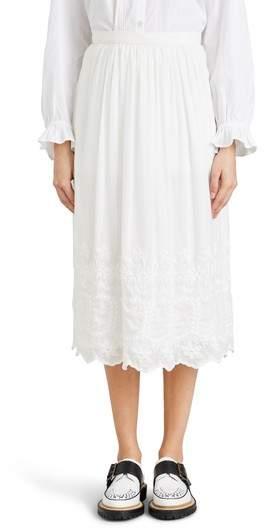 Burberry Shaftesbury Embroidered Cotton & Silk Skirt