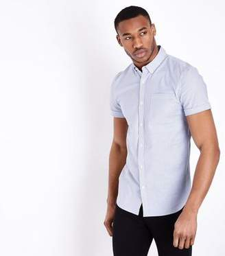 New Look Blue Stripe Muscle Fit Oxford Shirt