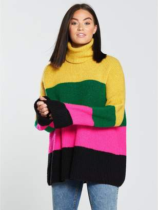Very Colour Block Roll Neck Jumper - Stripe