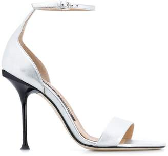 2ab2cdb78a3 Silver High Heel Ankle Strap Sandals - ShopStyle UK