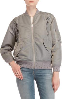 IRO Grey Lace-Up Bomber Jacket