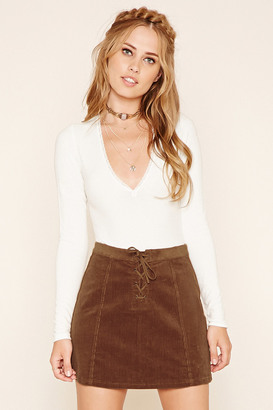 FOREVER 21 Corduroy Lace-Up Mini Skirt $15.90 thestylecure.com