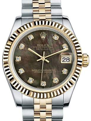 Rolex Datejust Lady 31 Black Mother Of Pearl Dial 18 Carat Yellow Gold and Stainless Steel Automatic Ladies Watch Watch