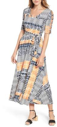 Chaus Patchwork Cutout Sleeve Maxi Dress