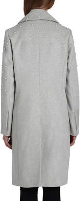Badgley Mischka Ayesha Pearly Embellished Wool-Blend Coat