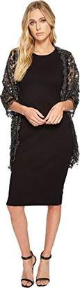 Betsey Johnson Women's Sequin Scallped Edge Crochet Evening Wrap
