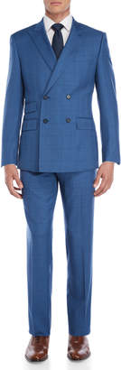 English Laundry Two-Piece Bright Blue Check Double-Breasted Wool Suit