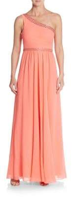 BCBGMAXAZRIA One-Shoulder Jeweled Georgette Gown