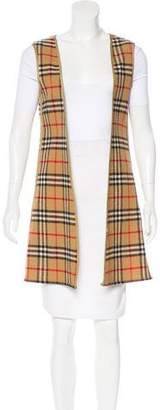 Burberry House Check Open Front Vest