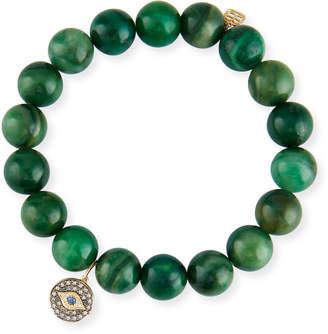 Sydney Evan Green Verdite & Diamond Evil Eye Bracelet