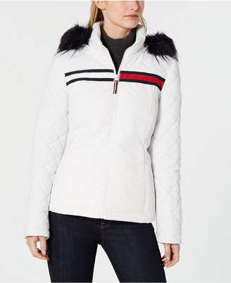 Tommy Hilfiger Logo Faux-Fur Puffer Coat