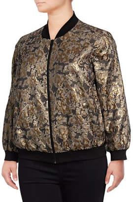 Vince Camuto Plus Plus Floral Jacquard Bomber Jacket
