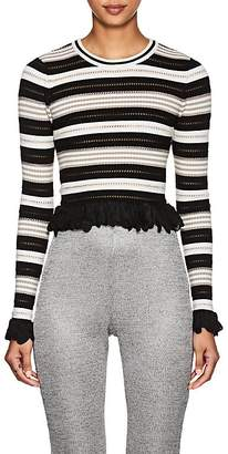 Ronny Kobo WOMEN'S ADELAIDE STRIPED RIB-KNIT CROP SWEATER