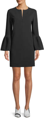Tibi Structured Crepe Bell-Sleeve Mini Dress