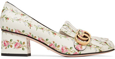 Gucci - Marmont Fringed Floral-print Loafers - White