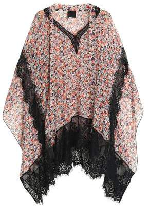 Anna Sui Lace-Trimmed Floral-Print Silk-Georgette Top