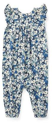 Ralph Lauren Floral Ruffle-Sleeve Romper, Size 9-24 Months