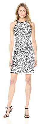 Nine West Women's Sleeveless a-Line Lace Dress with Embellished Neckline